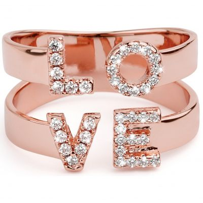 Ladies Mya Bay Rose Gold Plated Love Ring BA-LO-01.P