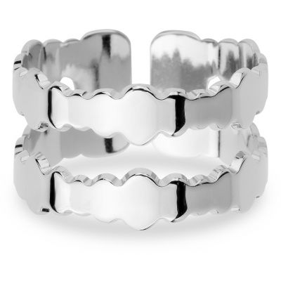 Ladies Mya Bay Silver Plated Double Bubbles Ring BA-BU-02.S