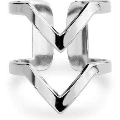 Ladies Mya Bay Silver Plated VV Ring BA-17.S