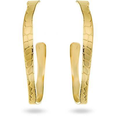 Ladies Mya Bay Gold Plated Python Texture Hoop Earrings BOC-01.G