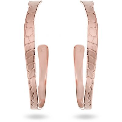 Ladies Mya Bay Rose Gold Plated Python Texture Hoop Earrings BOC-01.P