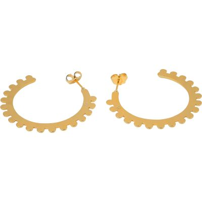 Ladies Mya Bay Gold Plated Bubble Medium Hoop Earrings BOC-09.G