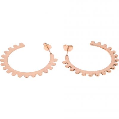 Ladies Mya Bay Rose Gold Plated Bubble Medium Hoop Earrings BOC-09.P