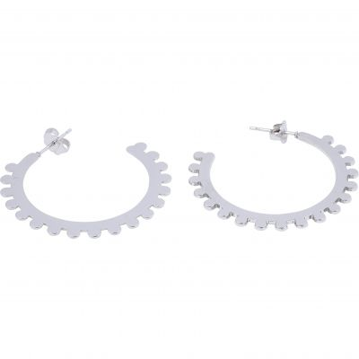 Ladies Mya Bay Silver Plated Bubble Medium Hoop Earrings BOC-09.S