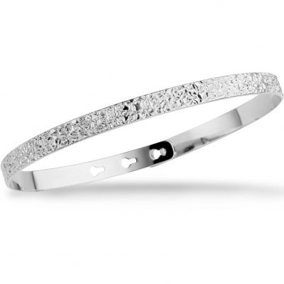 Mya Bay Dam Stitched Texture Bangle Silverpläterad JC-66.S