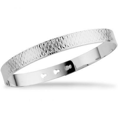 Mya Bay Dam Fish Scale Texture Bangle Silverpläterad JL-17.S