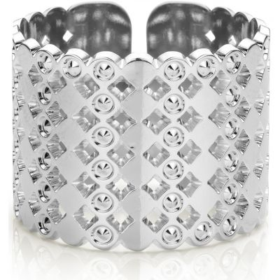 Mya Bay Dam Large Beaded Bubbles Ring Silverpläterad BA-64.S