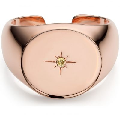 Ladies Mya Bay Rose Gold Plated Starry Signet Ring BA-69.P