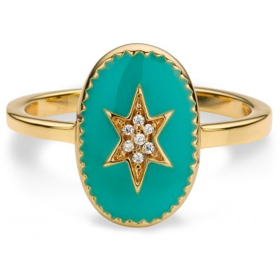 Ladies Mya Bay Gold Plated Enamelled North Star Ring BA-72.G