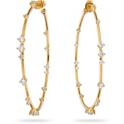 Ladies Mya Bay Gold Plated Hoops with Stones Earrings BO-23.G