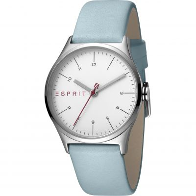 Esprit Essential Women's Watch featuring a Light Blue Leather Strap and Silver Dial ES1L034L0015