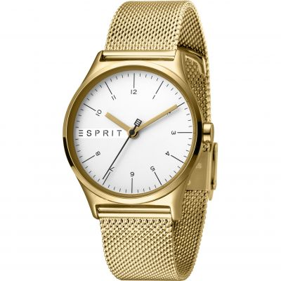 Esprit Essential Women's Watch featuring a Stainless Steel Mesh,  Gold Coloured Strap and Silver Dial ES1L034M0075