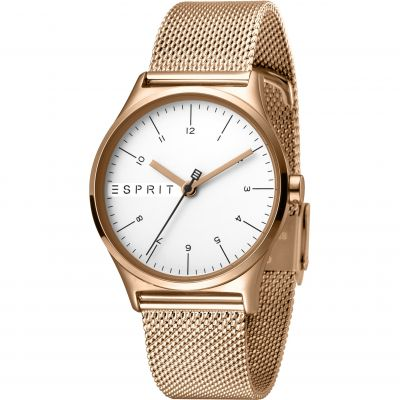 Esprit Essential Women's Watch featuring a Stainless Steel Mesh,  Rose gold Coloured Strap and Silver Dial ES1L034M0085