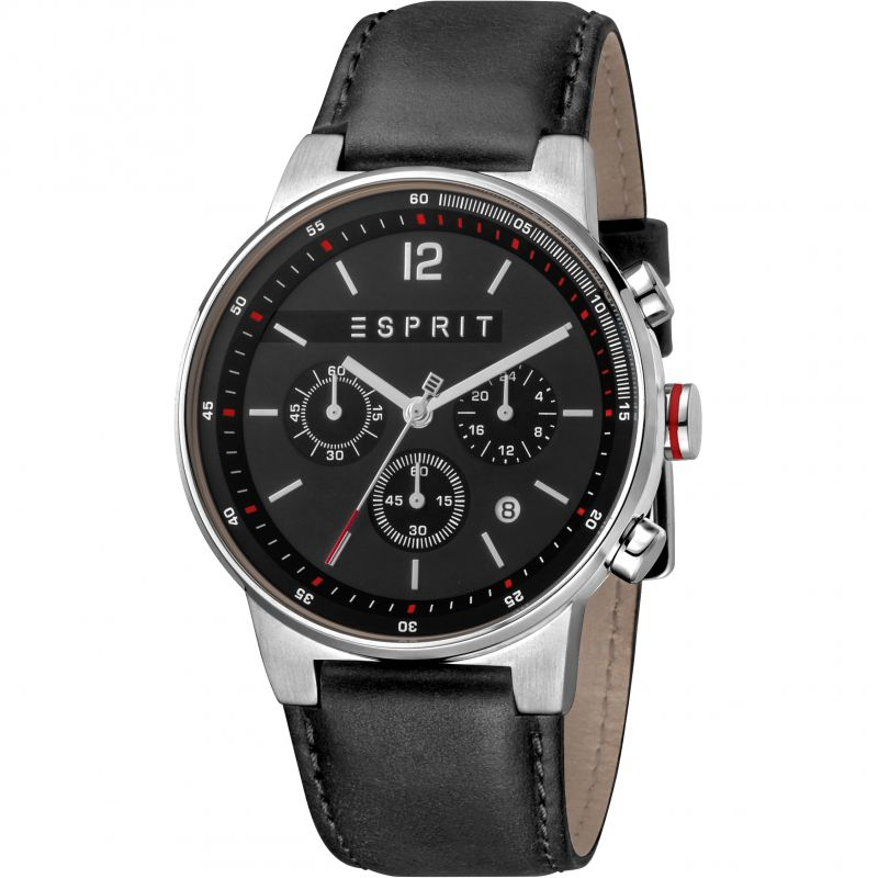 Esprit Equalizer Men's Watch featuring a Black Leather Strap and Black Dial