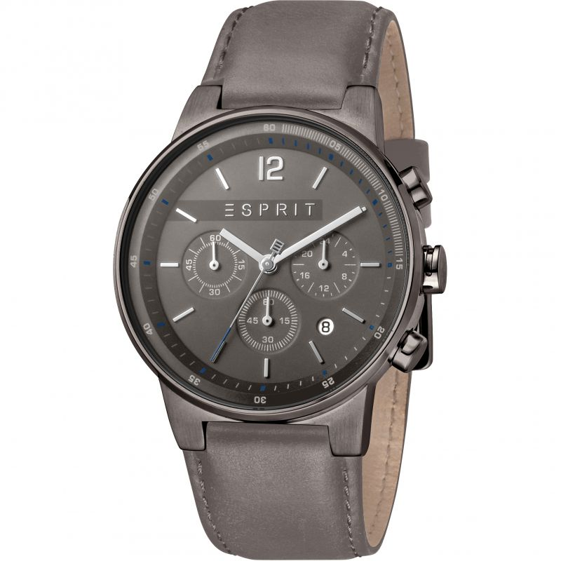 Esprit Equalizer Men's Watch featuring a Grey Leather Strap and Dark Grey Dial