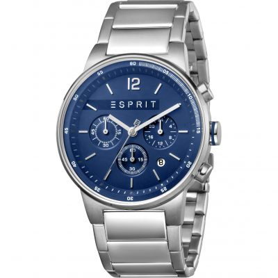 Esprit Equalizer Men's Watch featuring a Stainless Steel Strap and Blue Dial ES1G025M0075