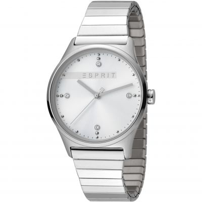 Esprit Vinrose Women's Watch featuring a Stainless Steel Polished Stretch Strap and Silver Dial ES1L032E0055