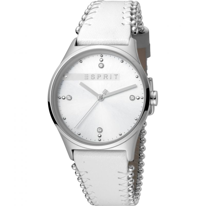 Esprit Drops Women's Watch featuring a White Leather Strap and Silver Dial ES1L032L0015