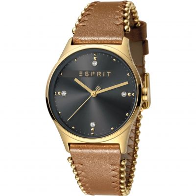 Esprit Drops Women's Watch featuring a Light Brown Leather Strap and Grey Dial ES1L032L0035