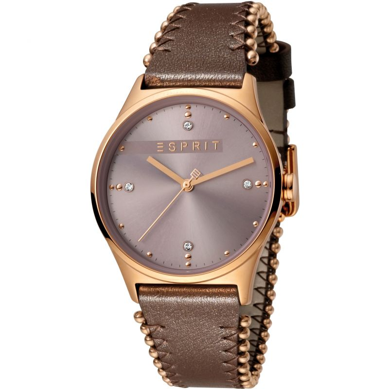Esprit Drops Women's Watch featuring a Dark Brown Leather Strap and Dark Pink Dial