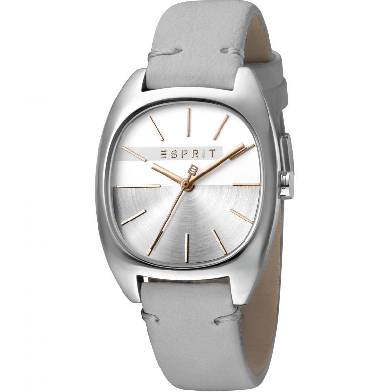 Esprit Infinity Women's Watch featuring a Light Grey Leather Strap and Silver Dial