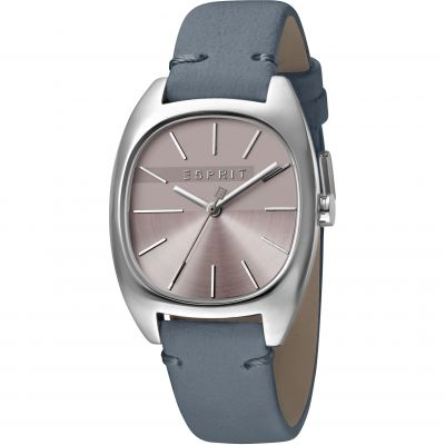 Esprit Infinity Women's Watch featuring a Blue Leather Strap and Purple Dial ES1L038L0045