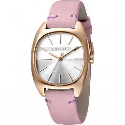 Esprit Infinity Women's Watch featuring a Pink Leather Strap and Silver Dial ES1L038L0065