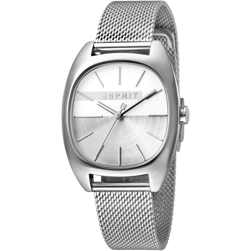 Esprit Infinity Women's Watch featuring a Stainless Steel Mesh Strap and Silver Dial ES1L038M0075