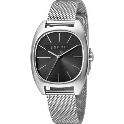 Esprit Infinity Women's Watch featuring a Stainless Steel Mesh Strap and Black Dial ES1L038M0085