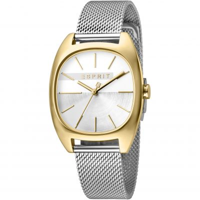 Esprit Infinity Women's Watch featuring a Stainless Steel Mesh Strap and Silver Dial ES1L038M0115