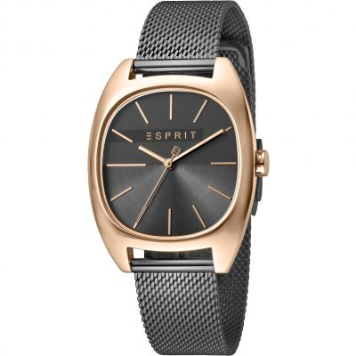 Esprit Infinity Women's Watch featuring a Stainless Steel Mesh,  Gun Colour Coloured Strap and Dark Grey Dial ES1L038M0125