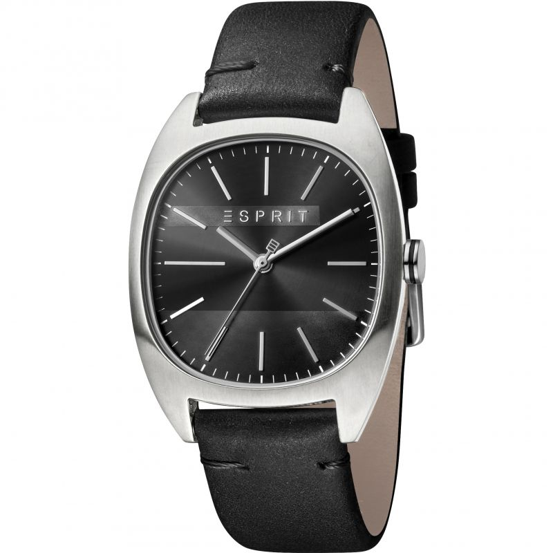 Esprit Infinity Men's Watch featuring a Black Leather Strap and Black Dial