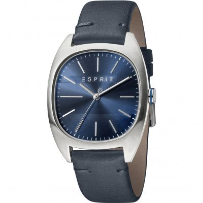 Esprit Infinity Men's Watch featuring a Dark Blue Leather Strap and Dark Blue Dial ES1G038L0035