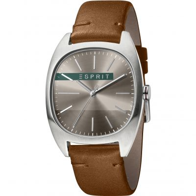 Esprit Infinity Men's Watch featuring a Dark Brown Leather Strap and Dark Grey Dial ES1G038L0045