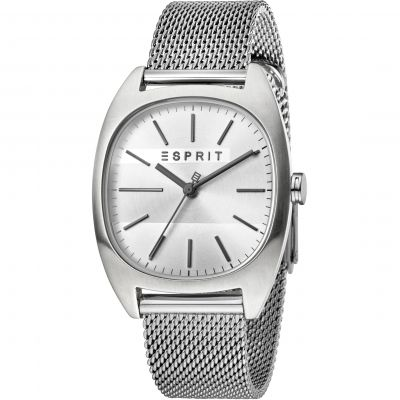 Esprit Infinity Men's Watch featuring a Stainless Steel Mesh Strap and Silver Dial ES1G038M0065