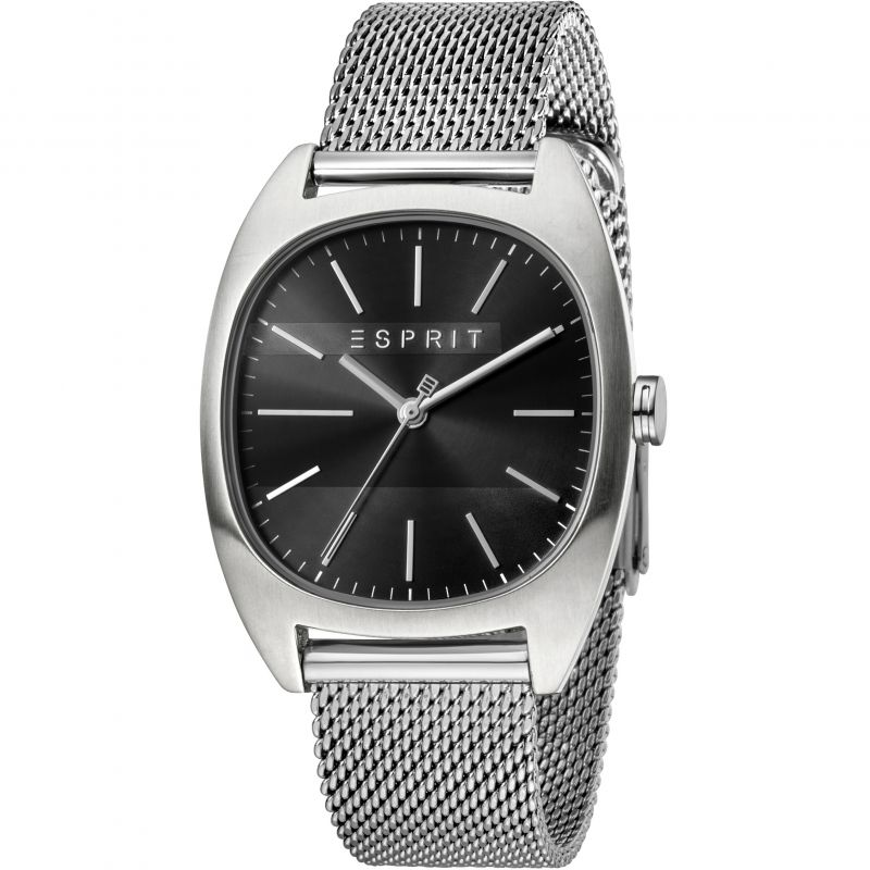 Esprit Infinity Men's Watch featuring a Stainless Steel Mesh Strap and Black Dial ES1G038M0075