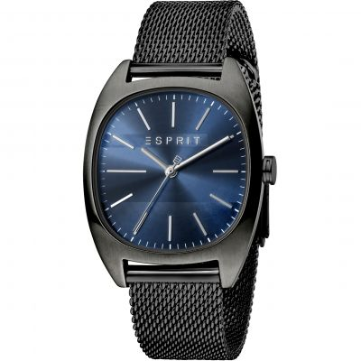 Esprit Infinity Men's Watch featuring a Stainless Steel Mesh,  Black Colour Coloured Strap and Dark Blue Dial ES1G038M0095