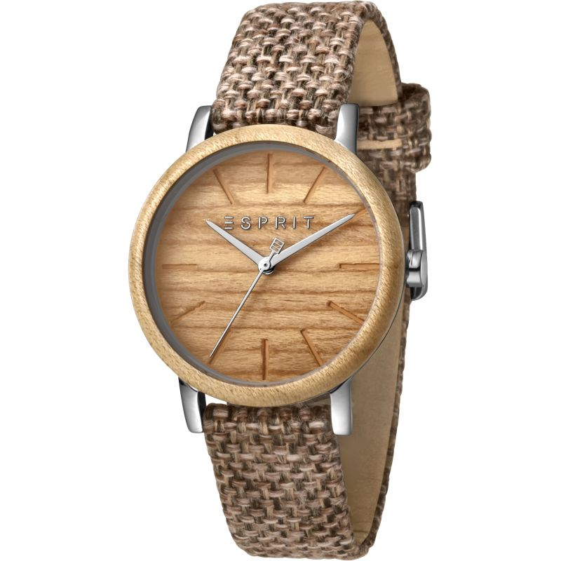 Esprit Forest Women's Watch featuring a Brown Canvas Strap and Wood Dial ES1L030L0025