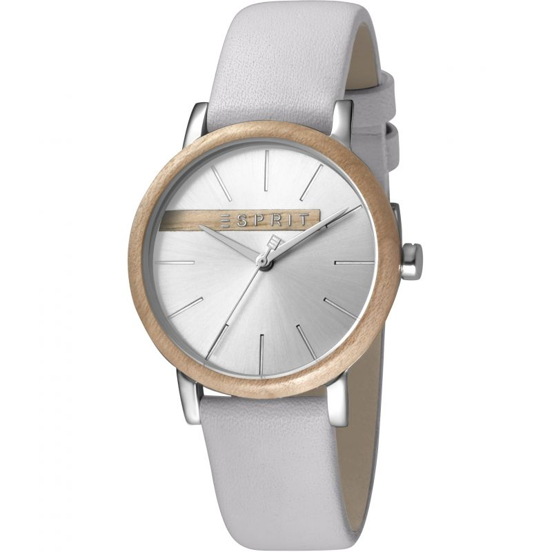 Esprit Forest Women's Watch featuring a Light Grey Leather Strap and Silver With Wood Platform Dial