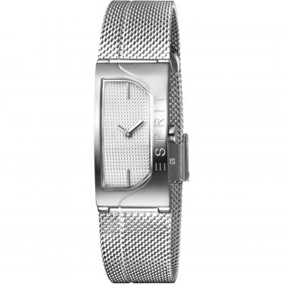 Esprit Houston Blaze Women's Watch featuring a Stainless Steel Mesh Strap and Silver Dial ES1L045M0015