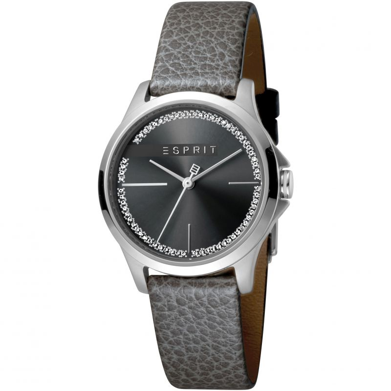 Esprit Joy Women's Watch featuring a Grey Leather Strap and Black With Stones Dial