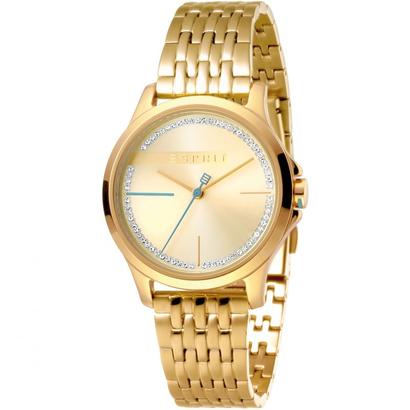 Esprit Joy Women's Watch featuring a Stainless Steel,  Gold Coloured Strap and Champagne With Stones Dial