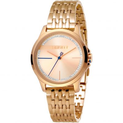 Esprit Joy Women's Watch featuring a Stainless Steel,  Rose gold Coloured Strap and Rose Gold With Stones Dial ES1L028M0085