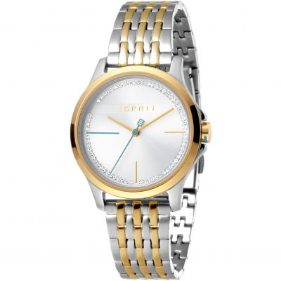 Esprit Joy Women's Watch featuring a Stainless Steel,  Two-Tone Gold Coloured Strap and Silver With Stones Dial ES1L028M0095