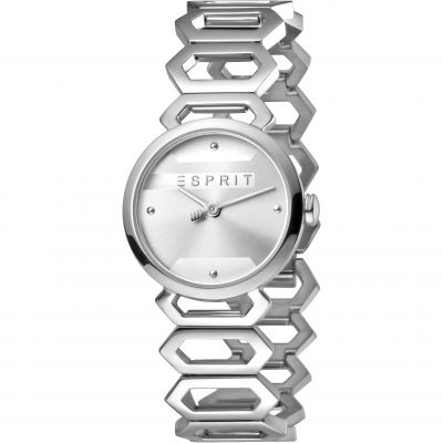 Esprit Arc Women's Watch featuring a Stainless Steel Strap and Silver Dial ES1L021M0015