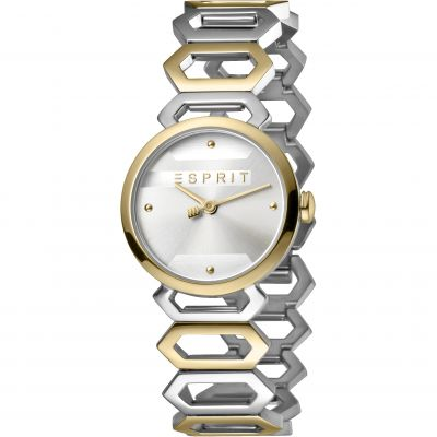 Esprit Arc Women's Watch featuring a Stainless Steel,  Two-Tone Gold Coloured Strap and Silver Dial ES1L021M0075