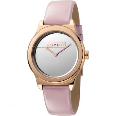 Esprit Magnolia Women's Watch featuring a Pink Patent Leather Strap and Silver Mirror Dial ES1L019L0045