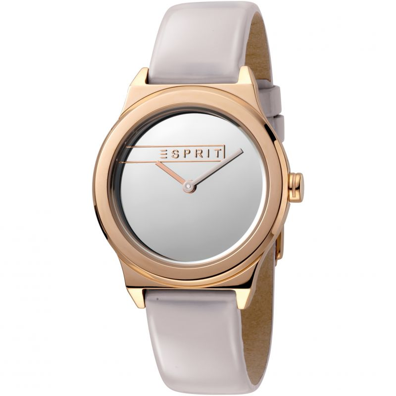 Esprit Magnolia Women's Watch featuring a Light Grey Patent Leather Strap and Silver Mirror Dial ES1L019L0055