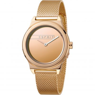 Esprit Magnolia Women's Watch featuring a Stainless Steel Mesh,  Rose gold Coloured Strap and Rose Gold Mirror Dial ES1L019M0095