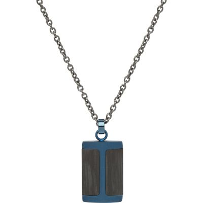 Mens Unique & Co Stainless Steel Carbon Fibre and Blue IP Tag Necklace AN-83/50CM